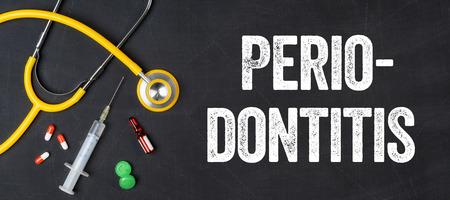 Periodontitis: Stethoscope and pharmaceuticals on a blackboard - Periodontitis Stock Photo