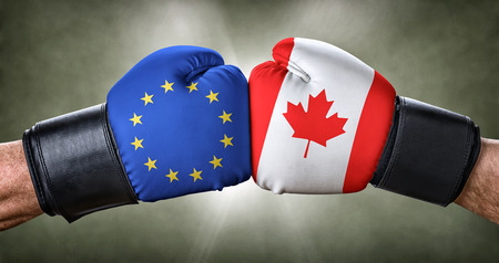 A boxing match between the European Union and Canada Stock Photo