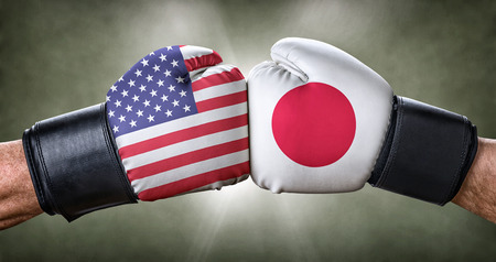 A boxing match between the USA and Japan Stock Photo