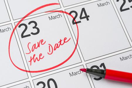 date: Sparen Sie das Datum in einem Kalender geschrieben - 23. März