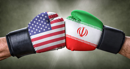 A boxing match between the USA and Iran Stock Photo
