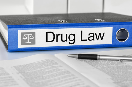 ordenanza: Blue folder with the label Drug Law