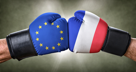 A boxing match between the European Union and France Stock Photo
