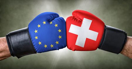 A boxing match between the European Union and Switzerland Stock Photo