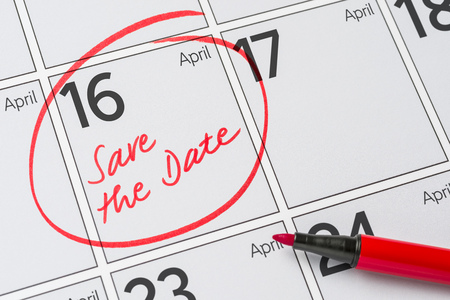 calendar date: Save the Date written on a calendar - April 16
