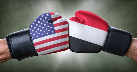 A boxing match between the USA and Yemen Stock Photo