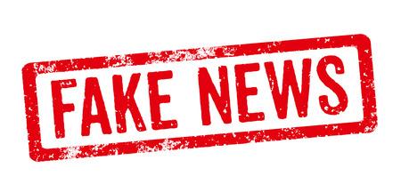Červené razítko na bílém pozadí - falešné zprávy Reklamní fotografie