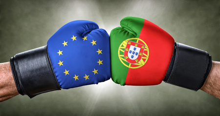 A boxing match between the European Union and Portugal Stock Photo