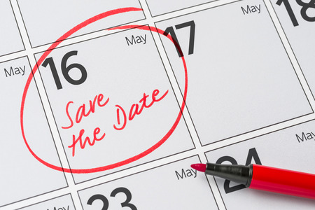 Save the Date written on a calendar - May 16 Stock Photo
