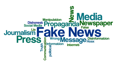 disinformation: Word Cloud on a white background - Fake News Stock Photo