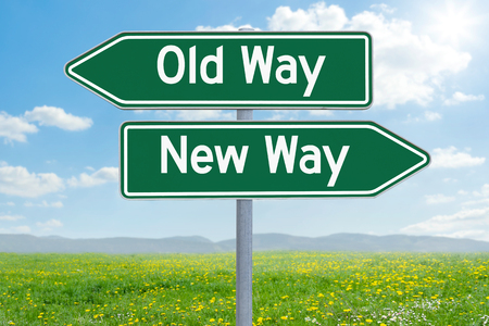 Two green direction signs - Old Way or New Way Stock fotó