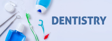 Oral care products on a light background - Dentistry Archivio Fotografico
