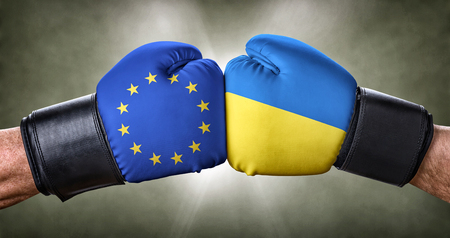 A boxing match between the European Union and Ukraine Stock Photo