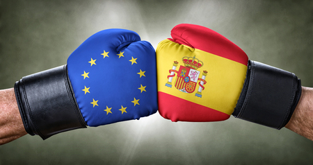 A boxing match between the European Union and Spain Stock Photo