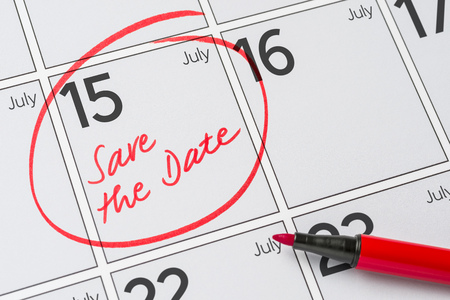 Save the Date written on a calendar - July 15 Stock Photo