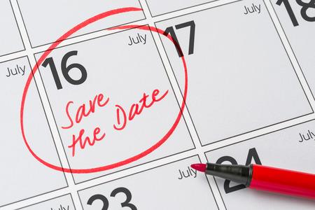 Save the Date written on a calendar - July 16