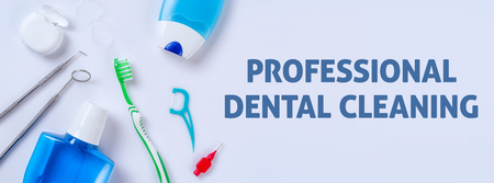 Oral care products on a light background - Professional dental cleaning