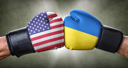 A boxing match between the USA and Ukraine