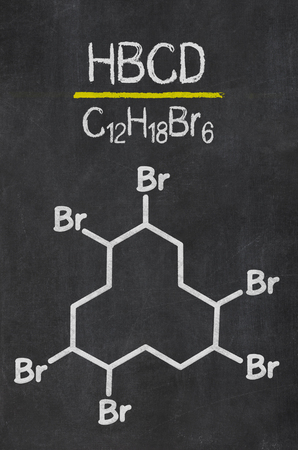 Blackboard with the chemical formula of HBCD Imagens