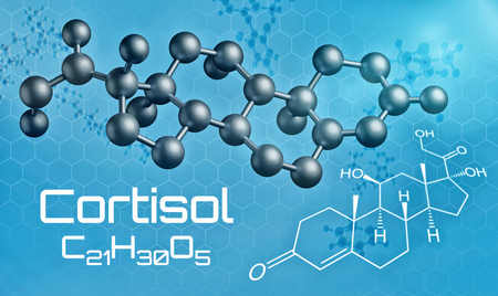 structural formula: Three-dimensional molecular model of Cortisol - 3d render