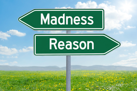 Two green direction signs - Madness or Reason Stock Photo