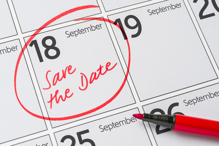 Save the Date written on a calendar - September 18