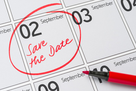 Save the Date written on a calendar - September 02 Stock Photo - 80617306