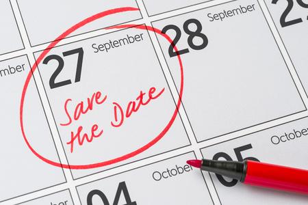 カレンダー - 9 月 27 日に書かれた日付を保存します。