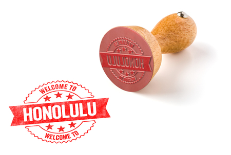 A rubber stamp on a white background - Welcome to Honolulu
