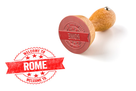 A rubber stamp on a white background - Welcome to Rome