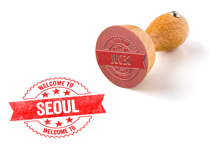A rubber stamp on a white background - Welcome to Seoul Stock Photo