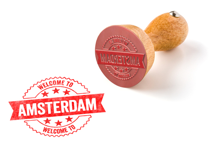 A rubber stamp on a white background - Welcome to Amsterdam Stock Photo