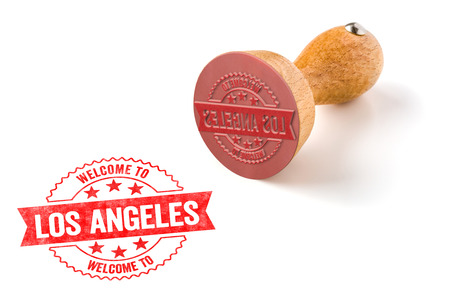 A rubber stamp on a white background - Welcome to Los Angeles