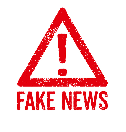 A red stamp on a white background - Fake News