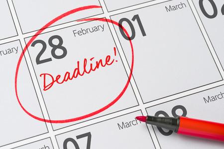 カレンダー - 2 月 28 日に書かれた期限