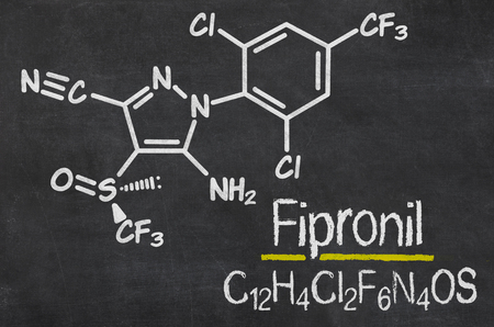 contamination: Blackboard with the chemical formula of Fipronil Stock Photo