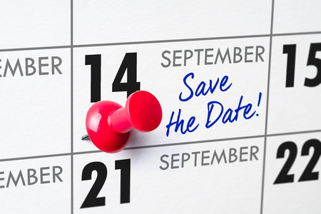 Wall calendar with a red pin - September 14