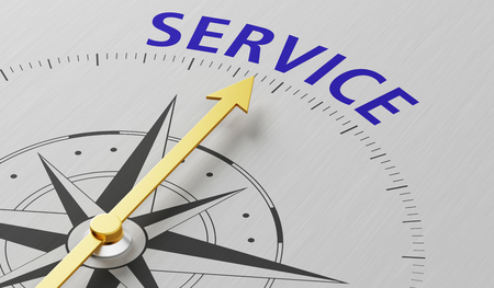 Compass needle pointing to the word Service Stock Photo