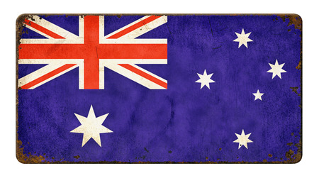 Vintage metal sign on a white background - Flag of Australia