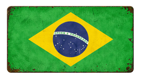 rusty background: Vintage metal sign on a white background - Flag of Brazil