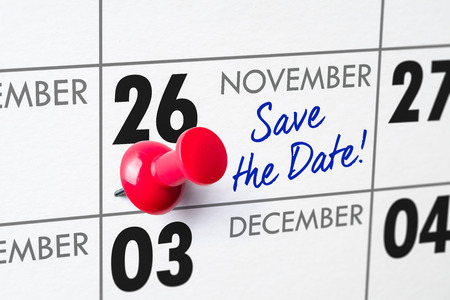 Wall calendar with a red pin - November 26