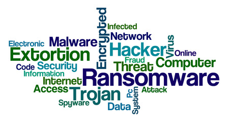 Word Cloud on a white background - Ransomware Banco de Imagens