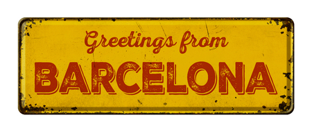 tin: Vintage metal sign on a white background - Greetings from Barcelona