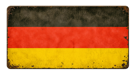 tin: Vintage metal sign on a white background - Flag of Germany