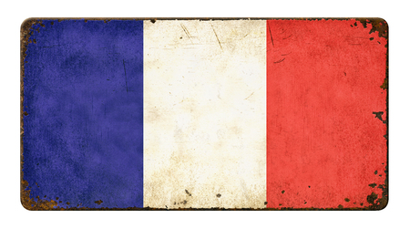 tin: Vintage metal sign on a white background - Flag of France