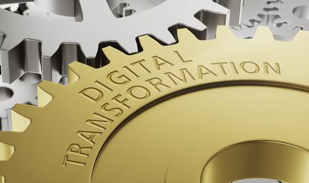 Metal gear wheels with the engraving Digital Transformation - 3d rendering