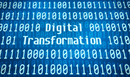 Binary code with the word Digital Transformation in the center Stock Photo