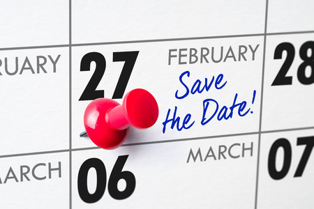 Wall calendar with a red pin - February 27