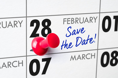 Wall calendar with a red pin - February 28