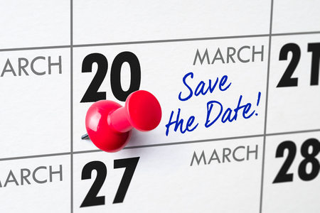 Wall calendar with a red pin - March 20 Stock Photo - 94448576
